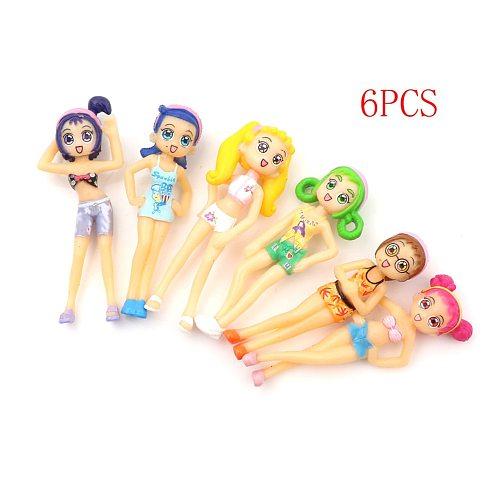 Figurines Micro Landscape Ornament 6pcs/set Beach Girls Fairy Miniature Figurine doll Garden DIY Ornament Decoration Crafts