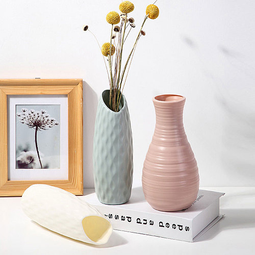 Shatterproof Vase Imitation Ceramic Flower Pot Origami Plastic Vases for Decoration Milky White Basket Arrangement Home Decor
