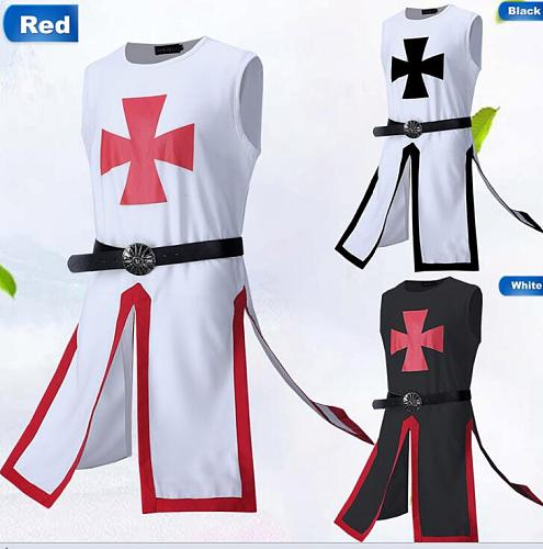 Medieval Knight Templar Crusader Costume Men Vest Tunic Shirt Warriror Cavalier Armor Tabard Black Belted Clothing For Adult Men