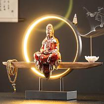 Buddha Backflow Incense Burner With Led Light 20 Pcs Cones Smoke Waterfall Incense Sticks Holder Home Decor Chinese Ornaments
