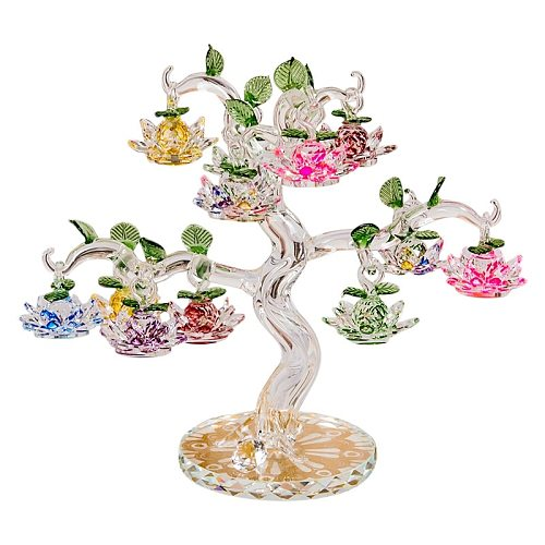 Crystal Lotus Tree Ornaments Fengshui Miniature Figurine Home Decorations Crafts Gifts