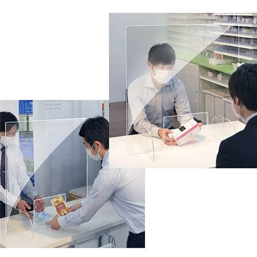 Plastic Clear Reception Counter Protection Baffle Sneeze Guard Shield for Restaurant Grocery Stores Salons Retailers