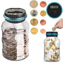 1.8L Piggy Bank Counter Coin Electronic Digital LCD Counting Coin Money Saving Box Jar Coins Storage Box For USD EURO Money