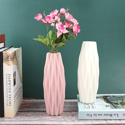 Home Flower Vase Decoration Home Plastic Vase Modern Creative White Imitation Ceramic Flower Pot Hydroponic Home Decoration