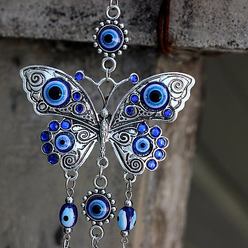 Wind Chimes Turkey Evil Eye Pendants Amulet Home Wall Hanging Decor Blessing Protection Gift Dream Catcher Blue Rhinestone