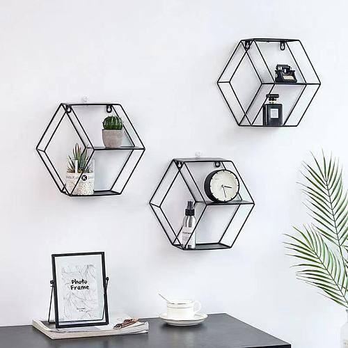 Modern simple iron art hexagonal wall shelf living room bedroom wall decoration storage and finishing shelf Decorative frame