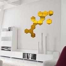 12PCs/Set DIY 3D Mirror Wall Sticker Hexagon Home Decor Mirror Decor Stickers Art Wall Decoration Stickers Multi-color Drop ship