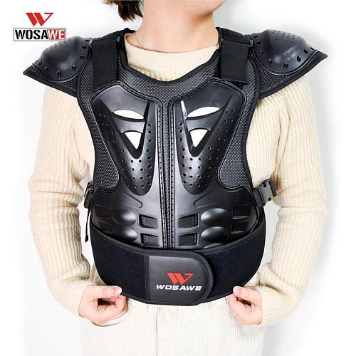 WOSAWE Children's Motorcycle Armor Body Armor Motos Jacket Back Shoulder Kids Body Protector Gear Motorcross Armored Girder