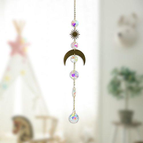Metallic Hoop Moon Sun Catcher Crystal Pendant Light Rainbow Maker Wind Chime Hanging Drop Gift of Good Luck Garden Decor