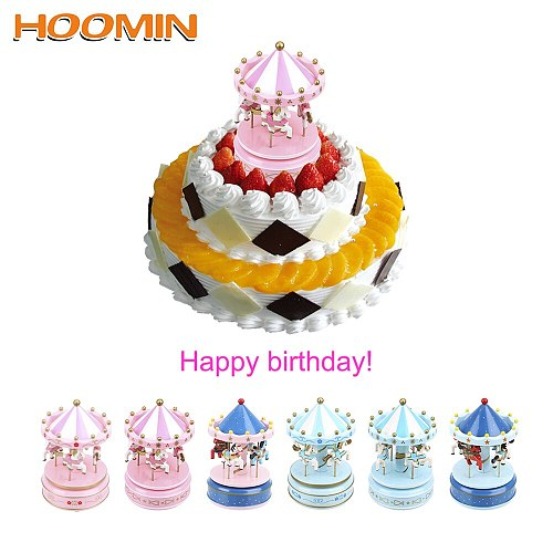 HOOMIN Music Boxes Merry-go-round music boxes Kid Toy Home Decoration Christmas Wedding Birthday Gift Carousel Box