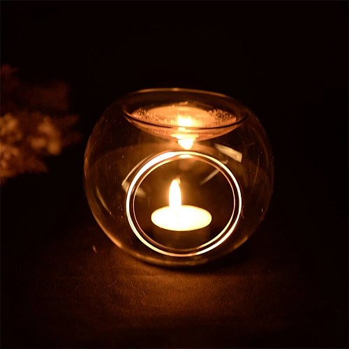 Tealight Candle Holders Oil Candlestick Transparent Crystal Handmade Glass Candlestick Centerpieces Wedding Home Decoration