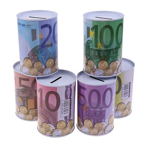 Tinplate Cylinder Piggy Bank Euro Dollar Picture Box Household Saving Money Box Home Decoration Money Boxes