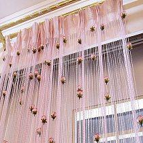 Rose Flower Tassel Flash Silver Line String Curtain Window Door Divider Sheer Curtain Valance Home Decoration 1x2m C0604
