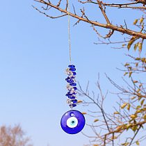 DIY Lucky Hamsa Turkish Blue Evil Eye Crystal Charm Suncatcher Pendant Wind Chime Amulet Home Wall Garden Hanging Decoration