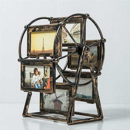 Ferris Wheel Photo Frame European Style Photo Frame Rotary Windmill Picture Frame Desktop Ornament (4-Inch Photo Frame)