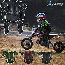 Black 4-15 Years Child Kids Bike Skiing Sport Support Motocross Body Back Protect Armor Knee Elbow Guard Motorcycle Vest Suits
