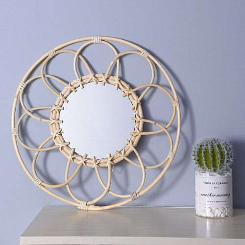 Rattan Hanging Wall Mirror Innovative Art Decoration Dressing Mirrors for Apartment Living Room