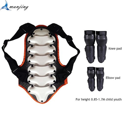 4-16 Years Children Youth Motorcycle Back Spine Protect Vest Armor Kids Downhill Scooter Back Protective gear Boys Girls