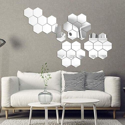 24pcs/set Diy 3d Mirror Wall Sticker Hexagon Home Decor Mirror Decor Stickers Art Wall Decoration Stickers Multi-color Mirrors