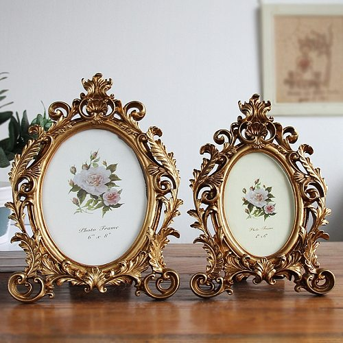 European Retro Oval Resin Photo Frames 6/7/8 Inch Desktop Home Decoration Wedding Photo Frame Home Decoration Craft Decorations