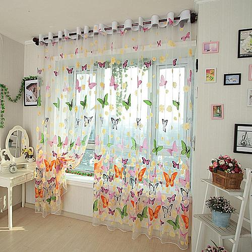 Pretty Butterfly Yarn Print Sheer Window Door Panel Sheer Curtains Room Divider Tulle Scarf Balcony Screens Hot Sell