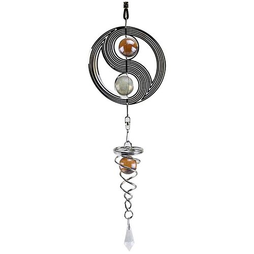 Metal Wind Spinner, Hanging Wind Chime Yin Yang with Crystal Ball for Garden Home Outdoor Indoor