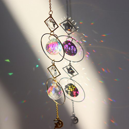 Crystal Wind Chime Star Moon Pendant Sun Suncatcher Plated  Colorful Beads Hanging Drop for Outdoor Indoor Garden Geometric