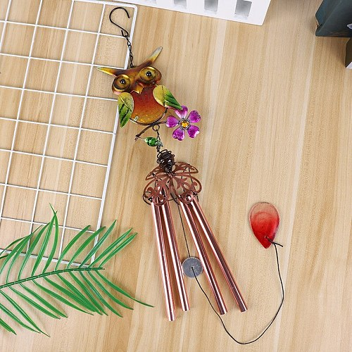 1PCS  Metal Wind Chime Owl Wind Chimes Garden Outdoor Decor Hanging Pendant Gift