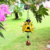 Hanging Bell Painted Metal Bell Bee Wind Chime Ornamental Bee Wind Chime with Hook Hanging Bell Home Decorations Accessories