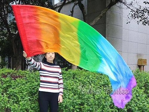 1 piece 2.2m*0.9m(88 *34 ) 5mm silk Rainbow worship flag/banner, Acrylic rod