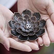 1PC Removable Alloy Incense Burner Stick Holder Plate Buddhism Lotus Censer Bronze Nasturtium Incense Burner Home Incense Base