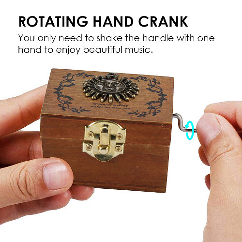 New Product Antique Carved Wooden Hand-Cranked Music Box Theme Music Box Large Size You Are My Sunshine Birthday Christmas Gift