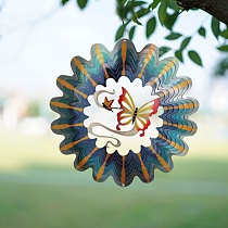 12 Inch Wind Spinner 3D Rotating Crafts Stainless Steel Indoor Outdoor Pendant For Hung On Walls Windows Trees Balconies Gardens