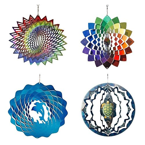 Wind Chimes Stainless Steel Wind Spinner- 3D Home Wall Hanging Decor Blessing Protection Gift Colorful Garden Decoration New