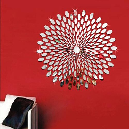 1Pc 3D Mirror Stickers Petal Wall Stickers Personalized Stereo TV Wall Modern Minimalist Background Bedroom Decor