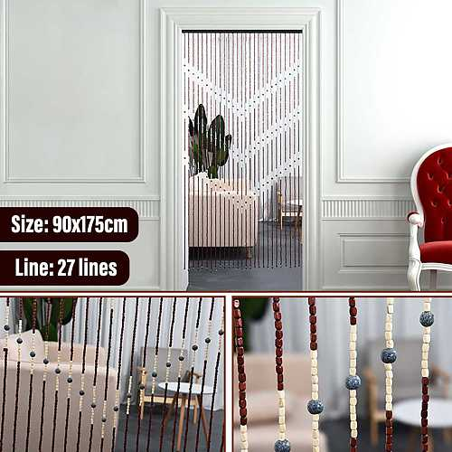 90x175CM High Quality Wooden Door Curtain Blinds Handmade Fly Screen Wooden Beads Room Divider 27 Line Non-toxic No Smell