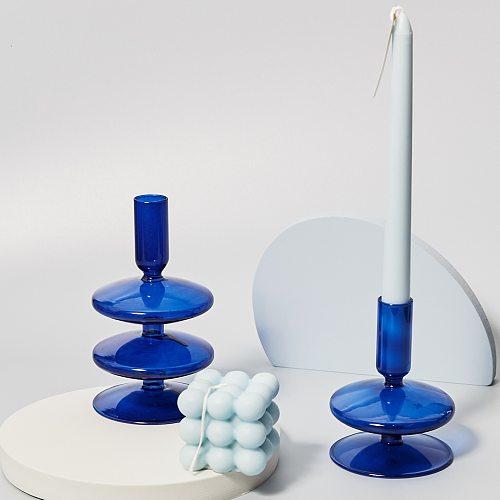 Retro Glass Candlestick for Taper Candle Brown Glass Nordic Home Decortaion Birthda Gift Ornaments