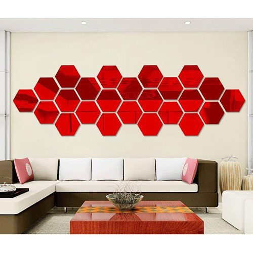 12pcs 3D Hexagon Acrylic Mirror Wall Stickers DIY Art Home Decor Living Room Decorative Tile Stickers Home Kitchen Accessories