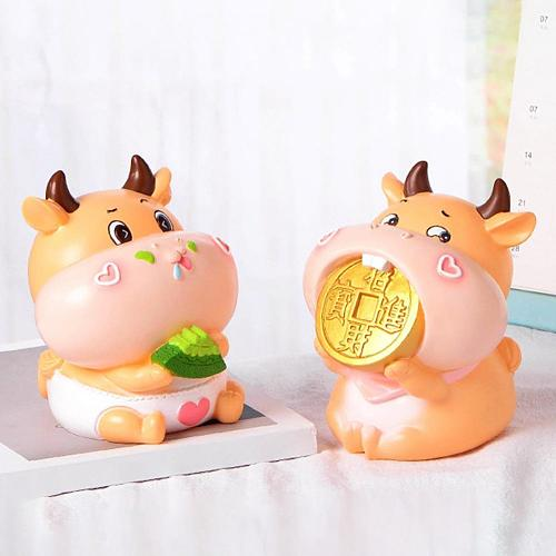 Cute Calf Cartoon Bank Money Box Coin Storage Container New Year Festival Gift Ornaments Decoration Birthday Best Gift for Kids