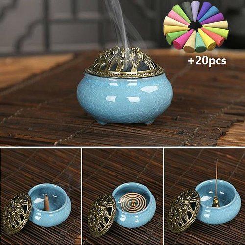Ceramic Incense Burners Portable Porcelain Censer Buddhism Incense Holder Home Tea House Yoga Studio 20pcs Incense Gift