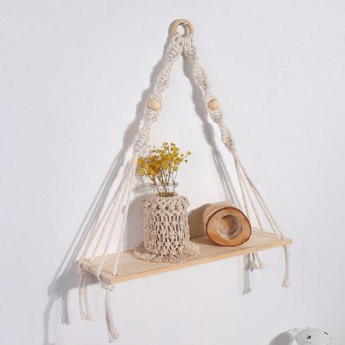 Bohemian Premium Wood Swing Hanging Rope Hand-woven Tassel Wall Mounted Floating Shelf Flower Pot Tapestry Rack Wall Decoration