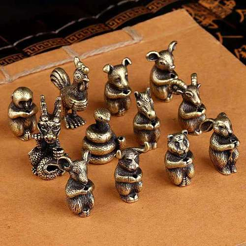 1pcs Chinese  Zodiac alloy Incense Burners for 1.2-2.1mm Sandalwood Stick base Holder bronze Burner Home Mini Small decoration