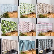 Kitchen Short Curtain Road Pocket Curtain for Cabinet Door Floral Half-Curtain Elegant Window Drapes Cafe Living Room Decoration