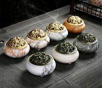Marble Coil Censer Incense Burners Copper Cover Ceramic Stick Burner Antique Sandalwood Incense Holder Home Zen Room Crafts