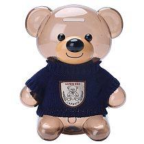 Creative ABS Sweater Bear Coin Piggy Bank Transparent Lovely TEDDY Money Box Gift for Kids Cute Money Box Children Birthday Gift