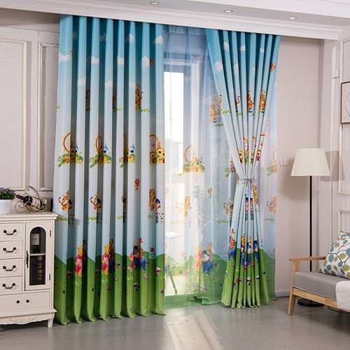 New Arrival Curtains for Living Room Pink Cartoon Character Bear Curtain For Kids Bedroom Children Treatments Fabric Blind