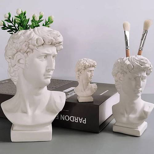 16cm Creative Pen Holder David Portrait Human Head Vase Makeup Brush Storage Box Flower Pot Home  Decoration Resin Crafts