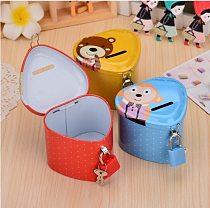 Cartoon Iron Love Heart Piggy Bank Coin Bank Money Box Saving Money saving tank Pen container Home Decor Favor Gift For Kids