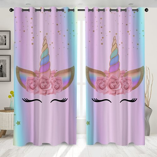3D Unicorn Printing Window Curtains High Quality Modern Living Room Decoration Shading Curtain For Girl Bedroom Home Decor