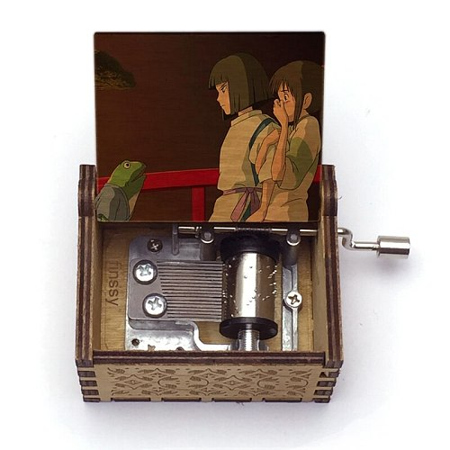Wooden Hand  Music Box chihiro color print spirited away music box theme always with me Home Crafts Ornaments Decor Gift